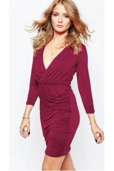 mujer-vestidos-de-tubo-vestido-cruzado-en